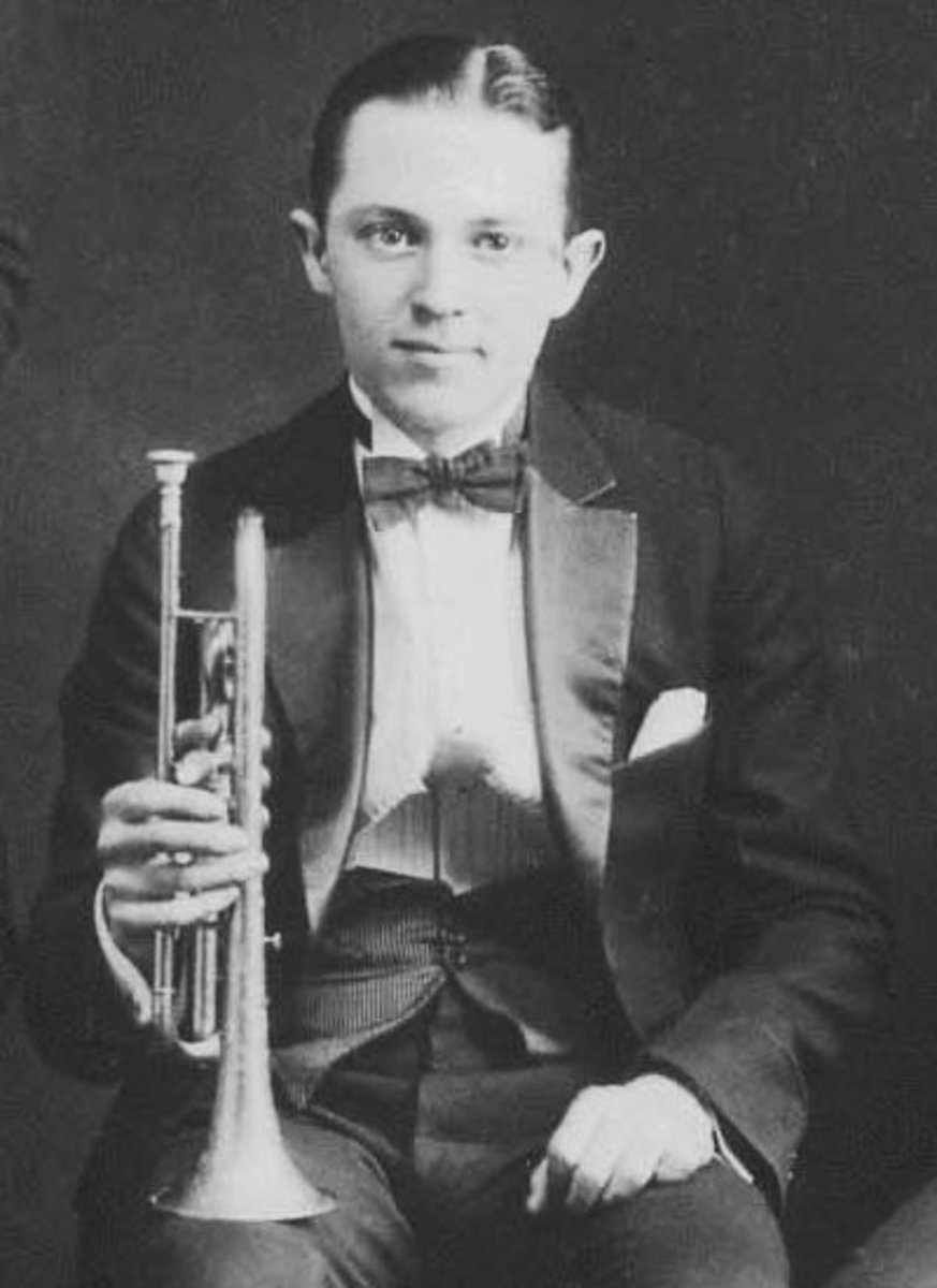 1924 photo of Bix Beiderbecke at the Doyle's Academy of Music in Cincinnati, Ohio.