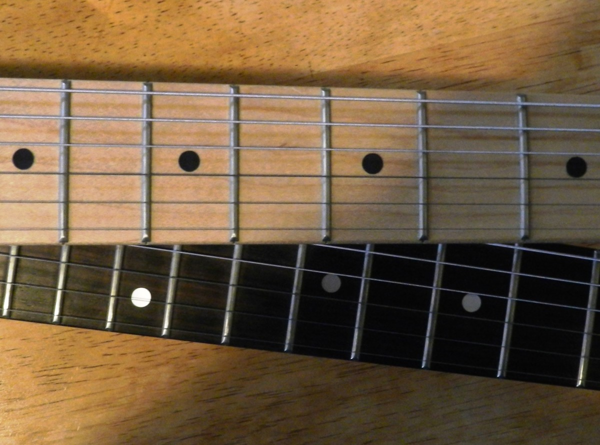 A maple fingerboard (top) and rosewood (bottom).