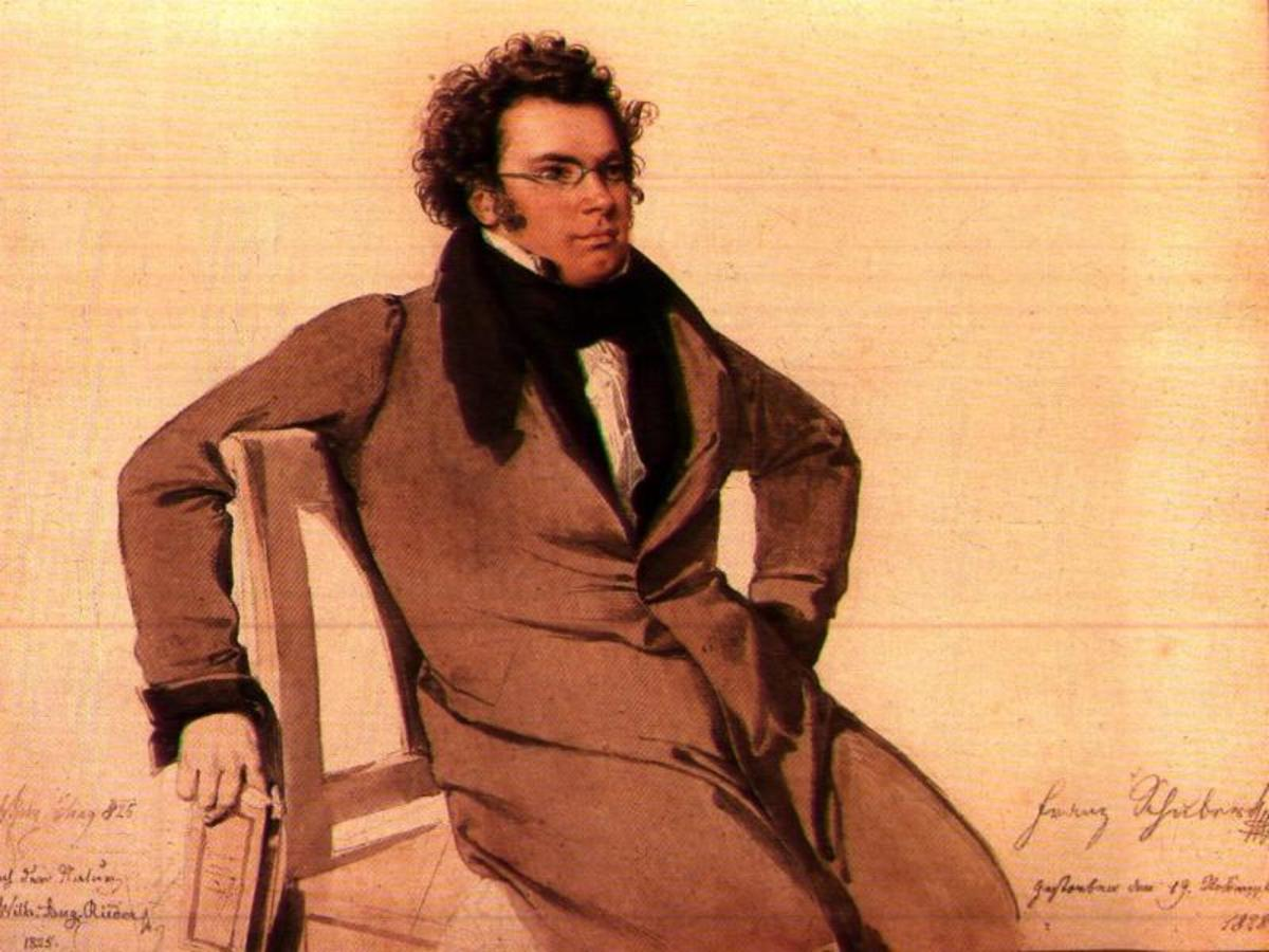 Watercolour of Schubert by Wilhelm August Reider, 1825.