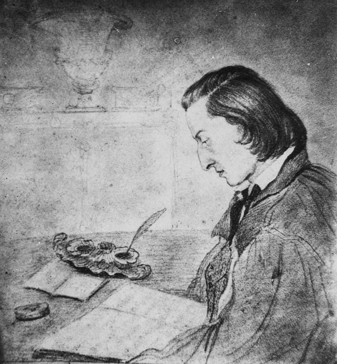 Sketch of Chopin by his lover George Sands, 1841.