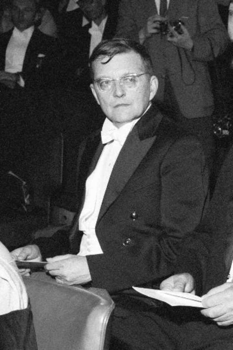 Photograph of Shostakovich on a visit to Finland in 1958.