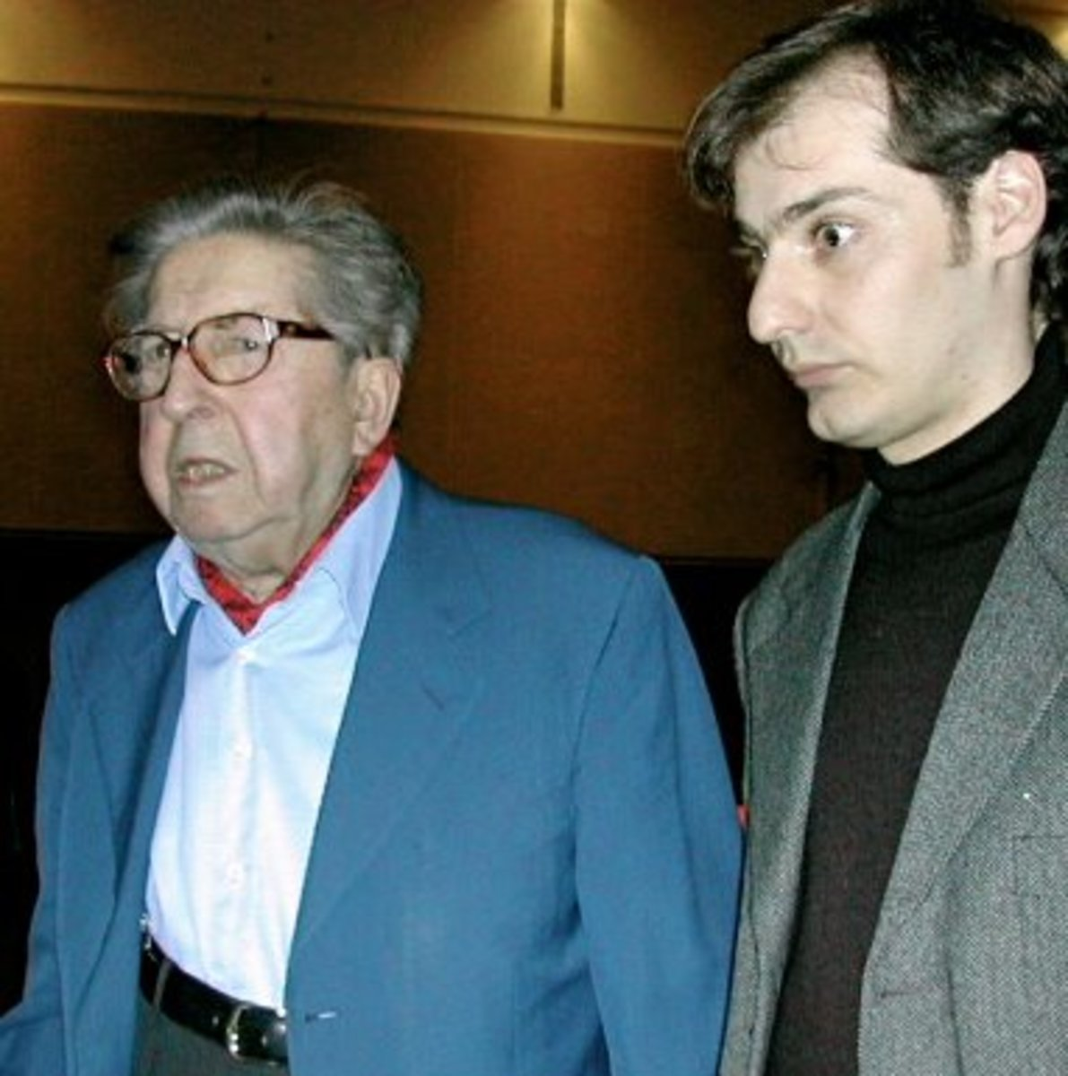 Henri Dutilleux (left) attending the Concours International de Composition as a member of the jury in 2004.
