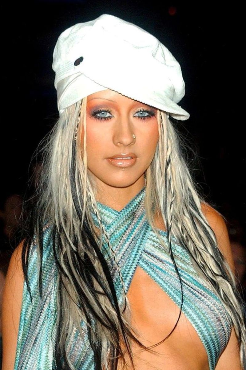 Aguilera in a risque ensemble at the 2002 Video Music Awards.