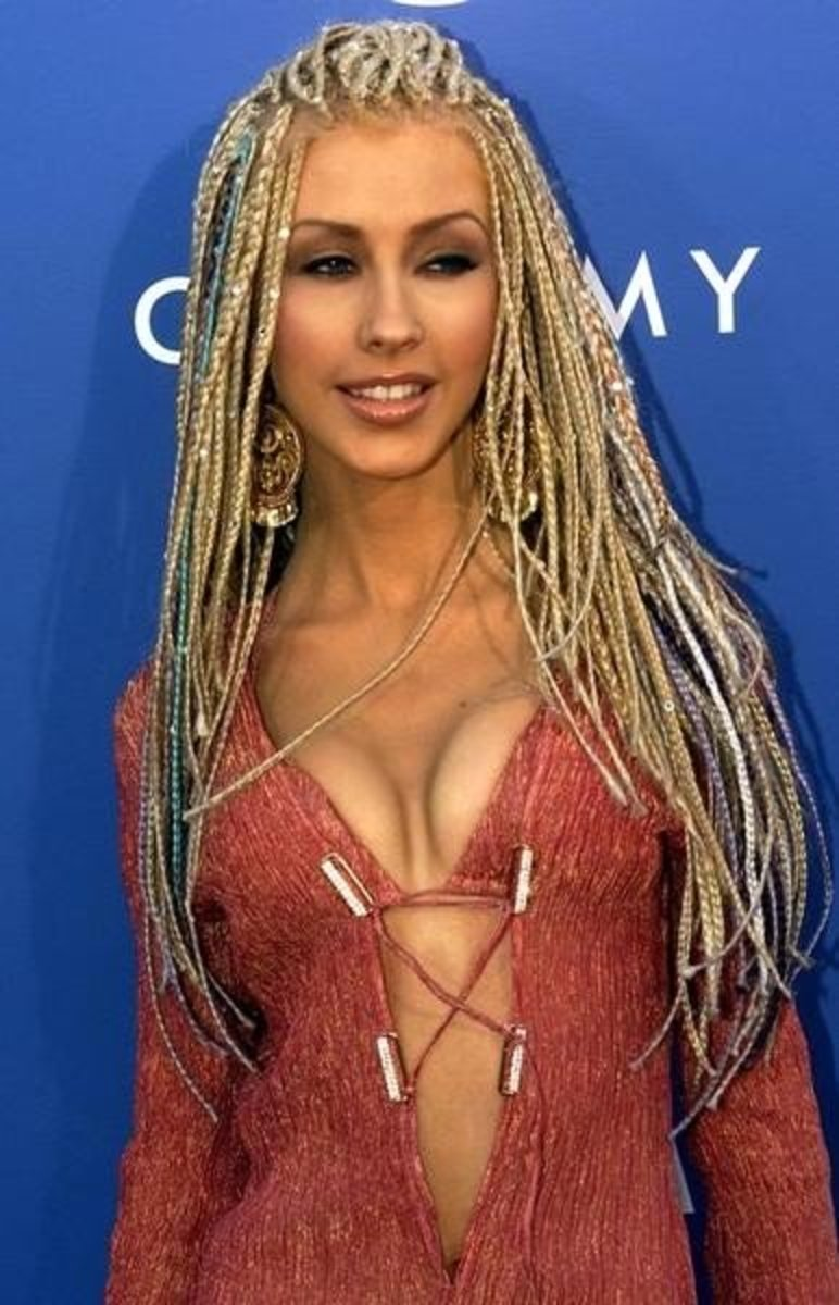The singer in braids and a sexy, laced up jumpsuit at the 2001 Grammy Awards.