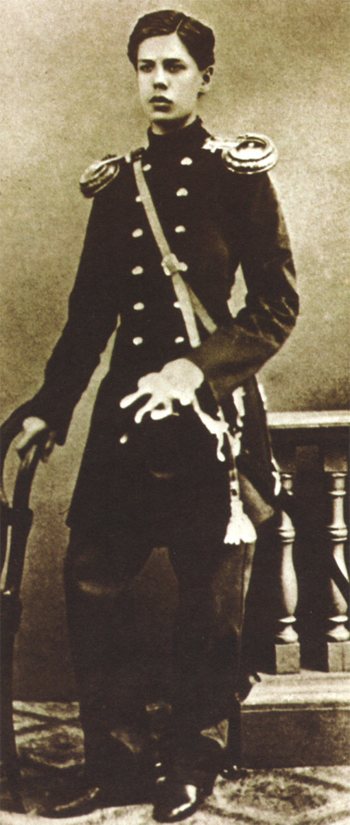 Photograph of Mussorgsky in uniform during his time in military service. United States Public Domain.