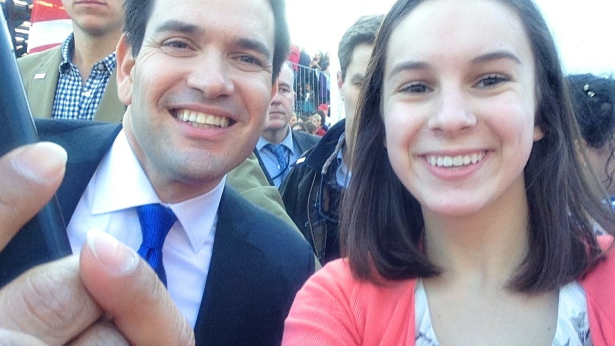 In 2016, Senator Marco Rubio took this selfie with my daughter when he was running for President.  (She has a way of stepping into the right place at the right time.)