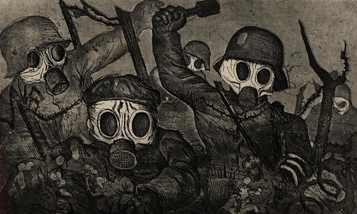 This 1924 aquatint by German artist Otto Dix portrays the horror associated with WWI trench warfare
