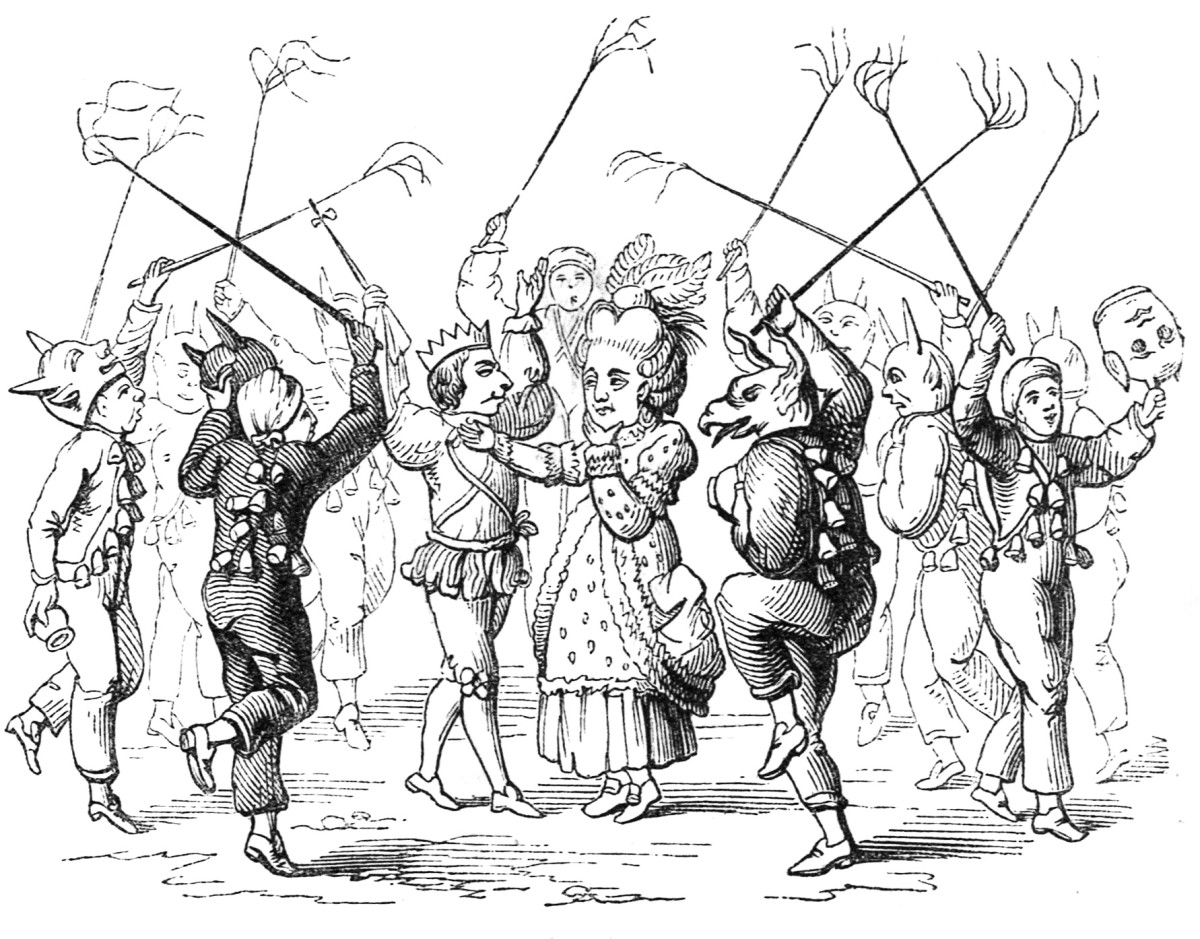 An engraving of mummers at Christmas time