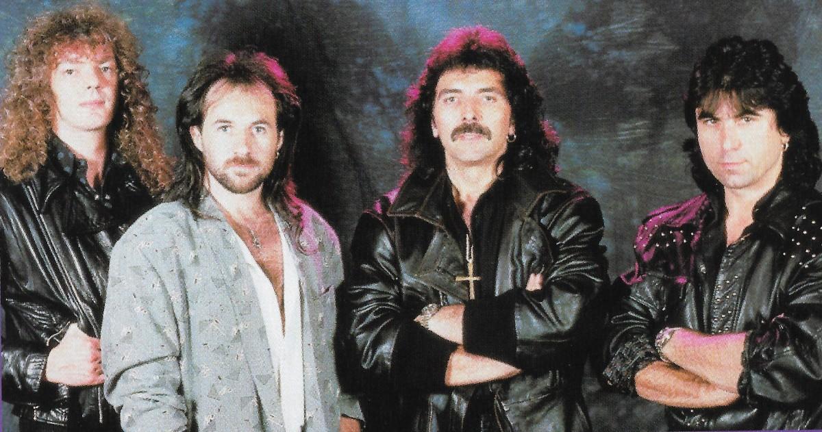 """Headless Cross"" tour lineup L-R: Neil Murray (bass), Tony Martin (vox), Tony Iommi (guitar), Cozy Powell (drums)"