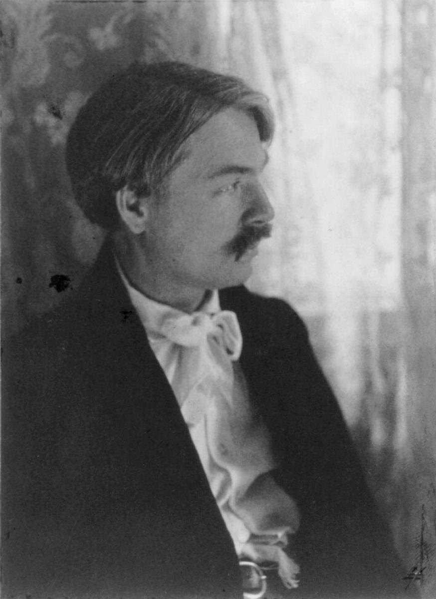 Photograph of Edward MacDowell (1860-1908) in 1906. This image is available from the United States Library of Congress's Prints.