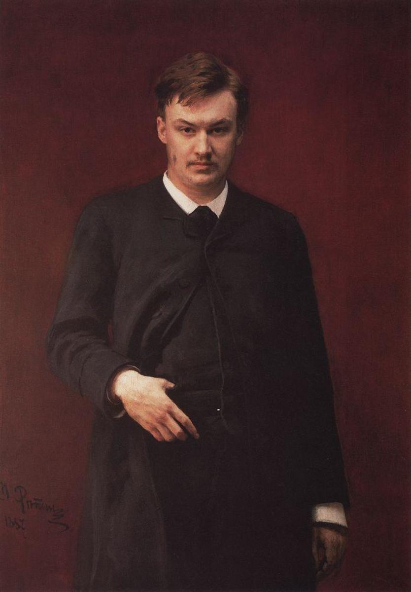 1887 portrait of Alexander Glazunov (1865-1936) by Ilya Repin.