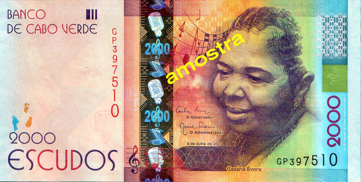 Cesária Évora honoured on a banknote worth about $20US.