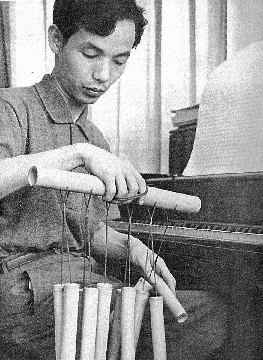 Photograph of Takemitsu in 1961.