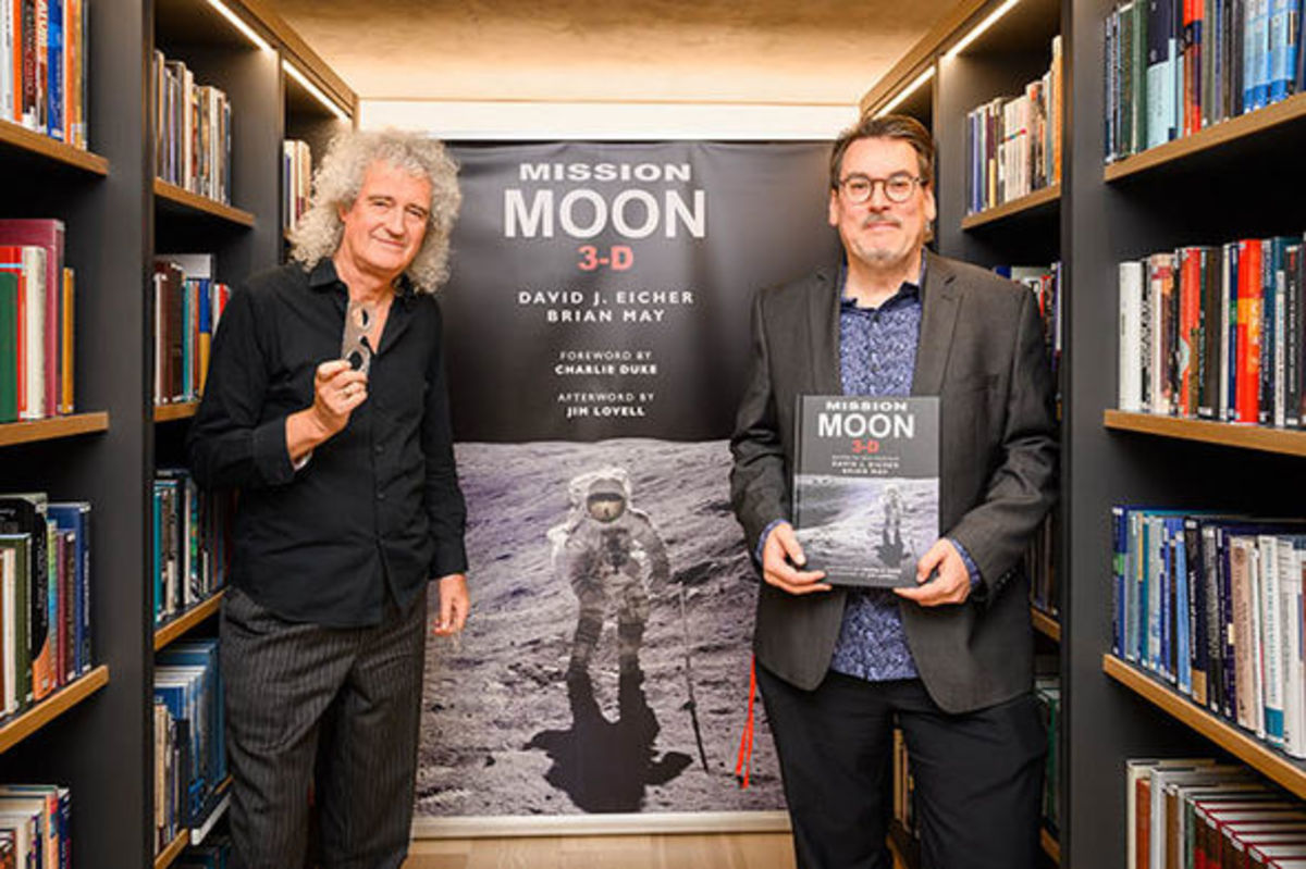 "Brian and co-author David Eicher with their book, ""Moon Mission 3-D: A New Perspective on the Space Race."""