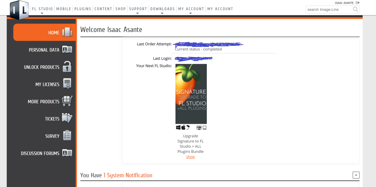 Figure 3: An edited screenshot of what I see in my Image-Line dashboard.