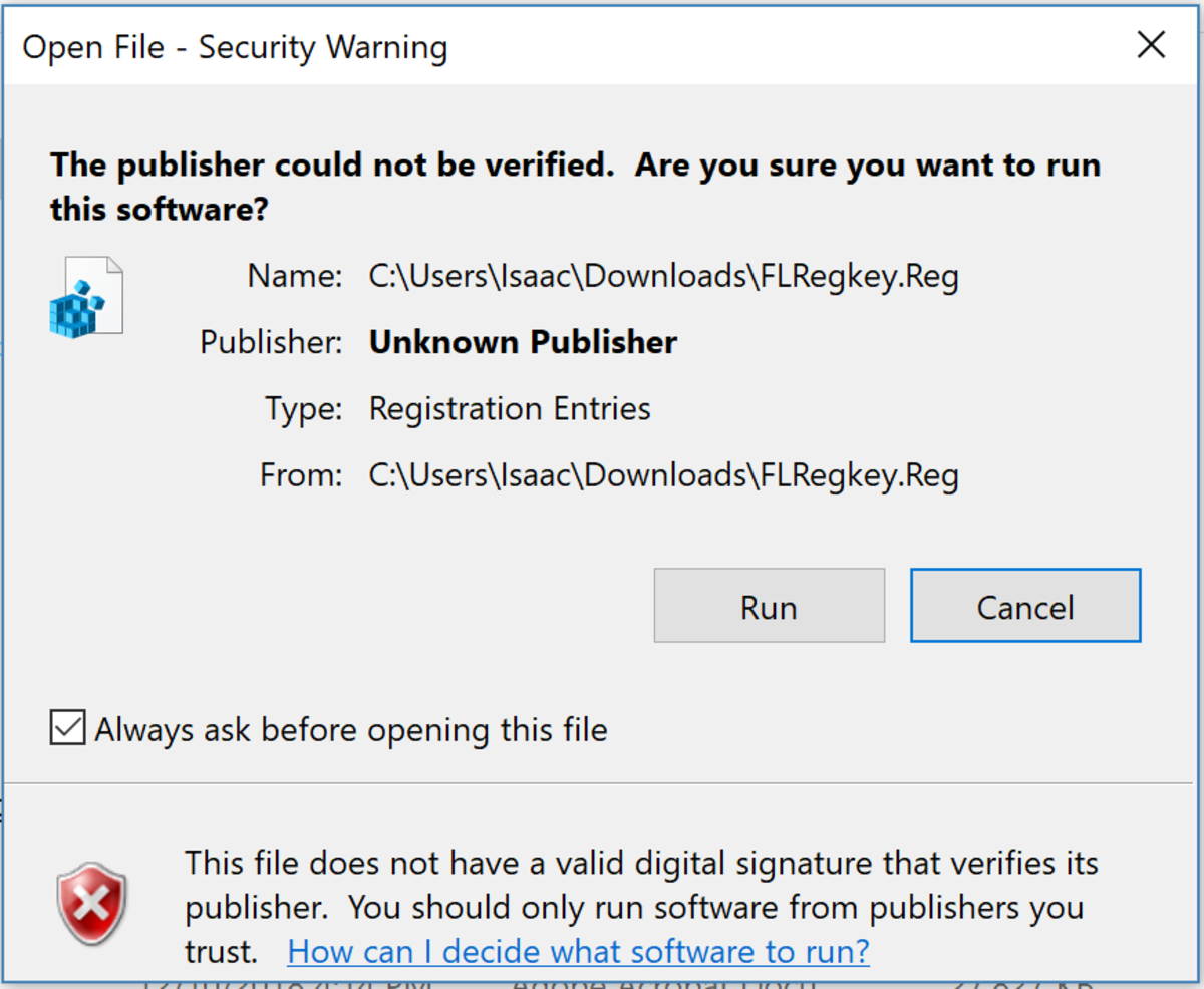 "Figure 6: When installing the registry file, you may encounter a warning message. Click ""Run"" to proceed with the installation, as the file is completely safe."