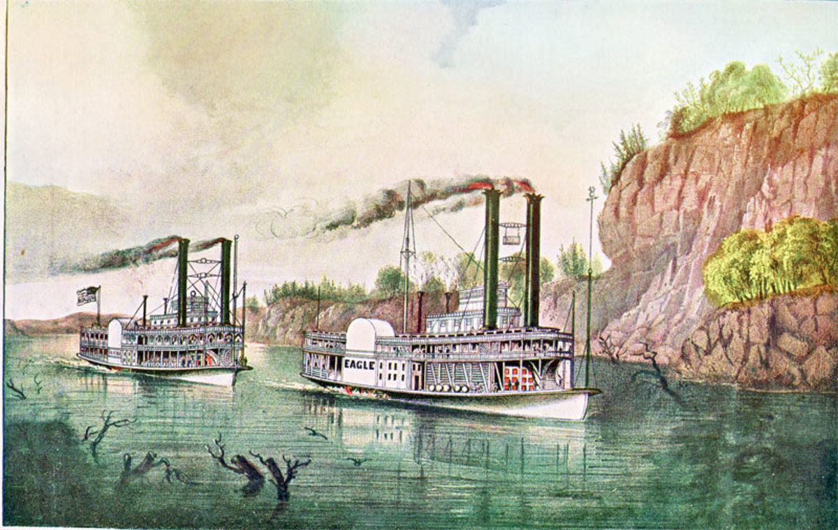 This late 19th century lithograph, depicts a Mississippi steamboat race between the Diana and the Eagle