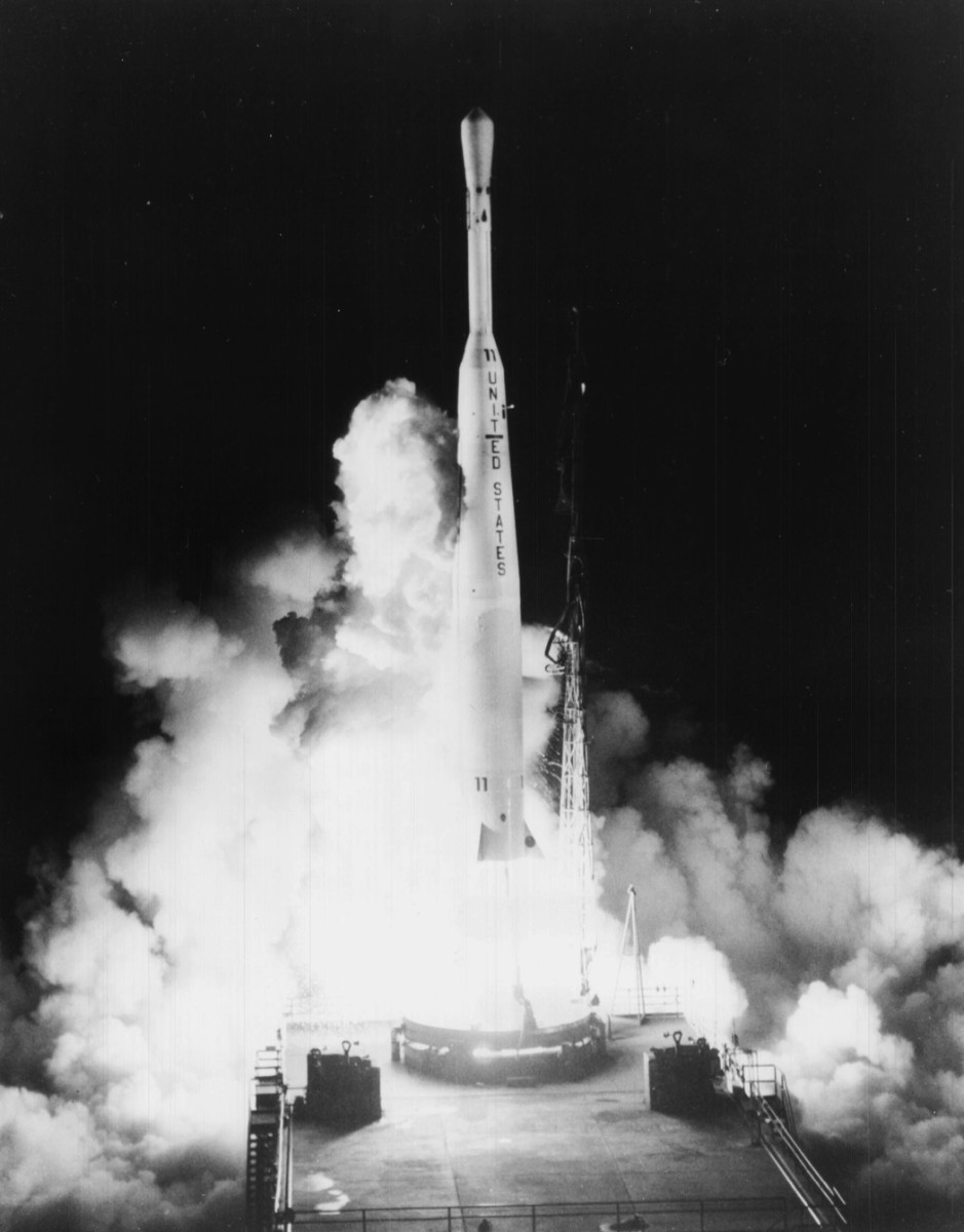 Thor-Delta launch vehicle with Telstar I satellite aboard, July 10, 1962