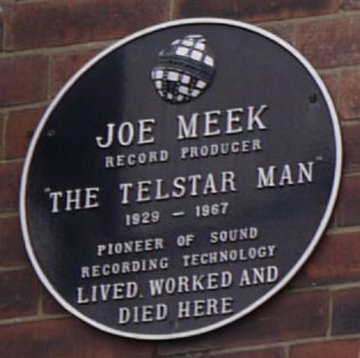 A plaque on the wall of the building where Joe Meek lived, worked and died.