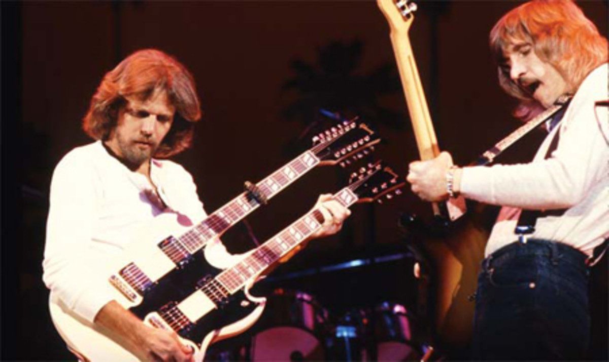 Don Felder and Joe Walsh trading licks on stage for the Eagles.