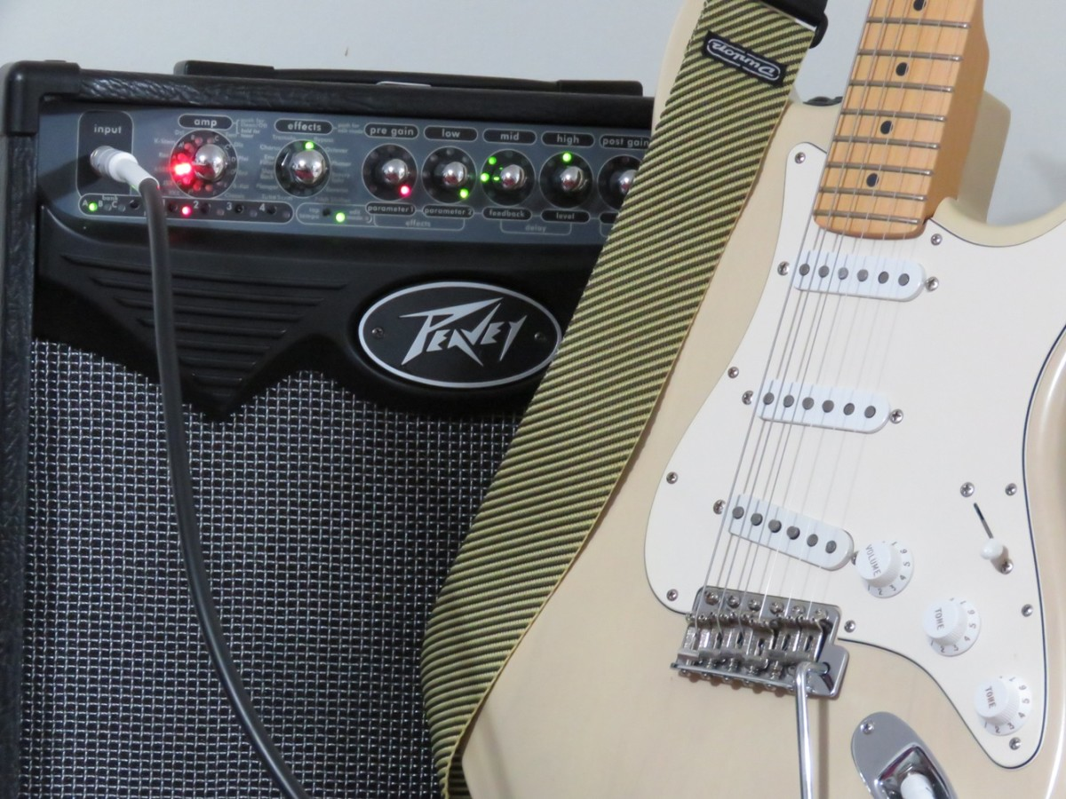 A guitar, cable and modeling amp is all you need for jamming at home.