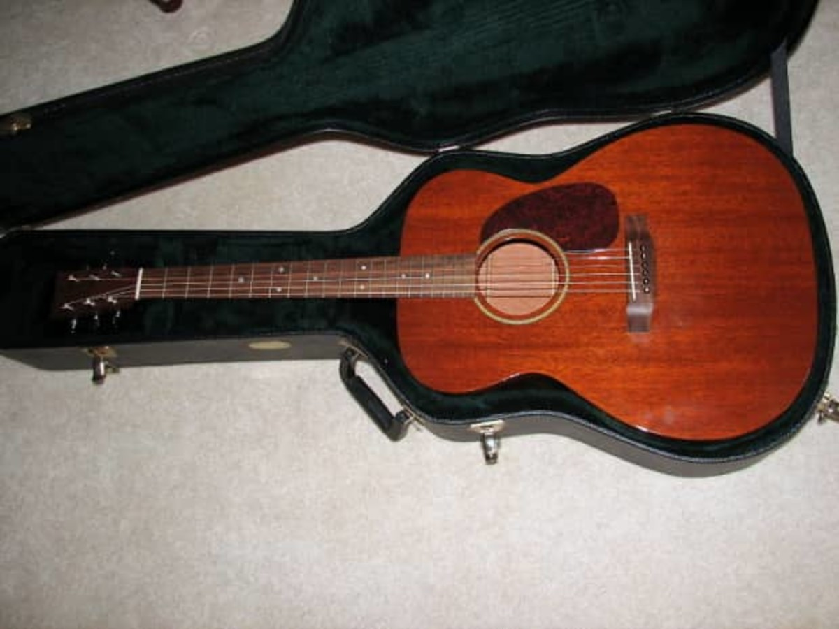 All mahogany, the Martin J-15 in its case.