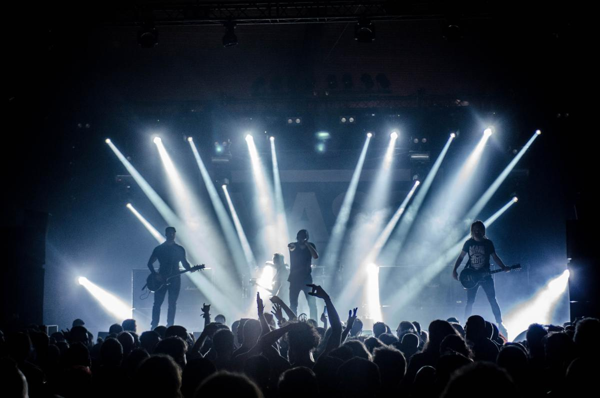 Dramatic light shows play a big role at rock concerts.
