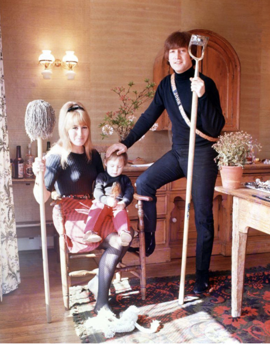 John Lennon with his first wife, Cynthia Lennon, and his son, Julian.