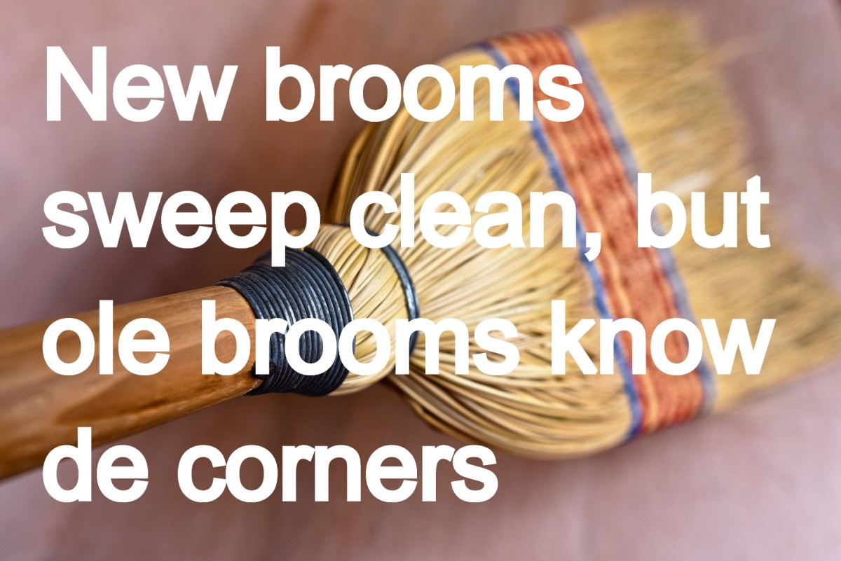 """New brooms sweep clean, but ole brooms know de corners."" - Caribbean saying (Someone with a new perspective can make great changes, but experience is also very valuable.)"