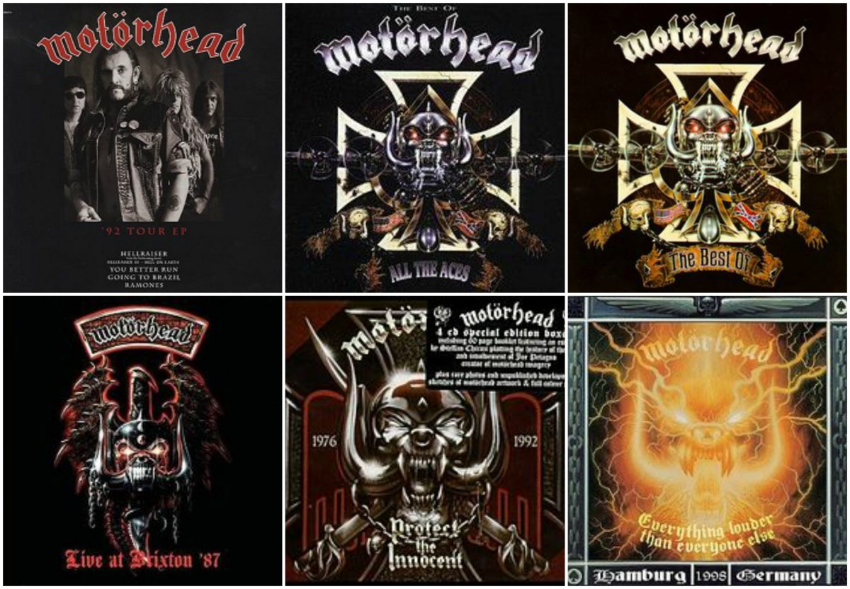 "Live albums and compilations: ""92 Tour EP"" (1992), ""All The Aces"" (1993), ""The Best Of Motorhead"" (1993), ""Live at Brixton '87"" (1994), ""Protect the Innocent"" (1997), ""Everything Louder Than Everyone Else"" (1999)"
