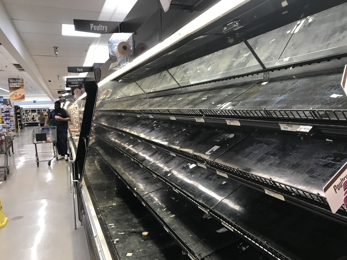 People have hoarded poultry in the meat department, including chicken and ground turkey.