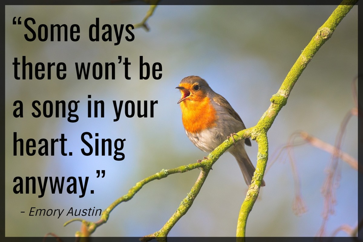 """Some days there won't be a song in your heart. Sing anyway."" - Emory Austin, American motivational speaker"