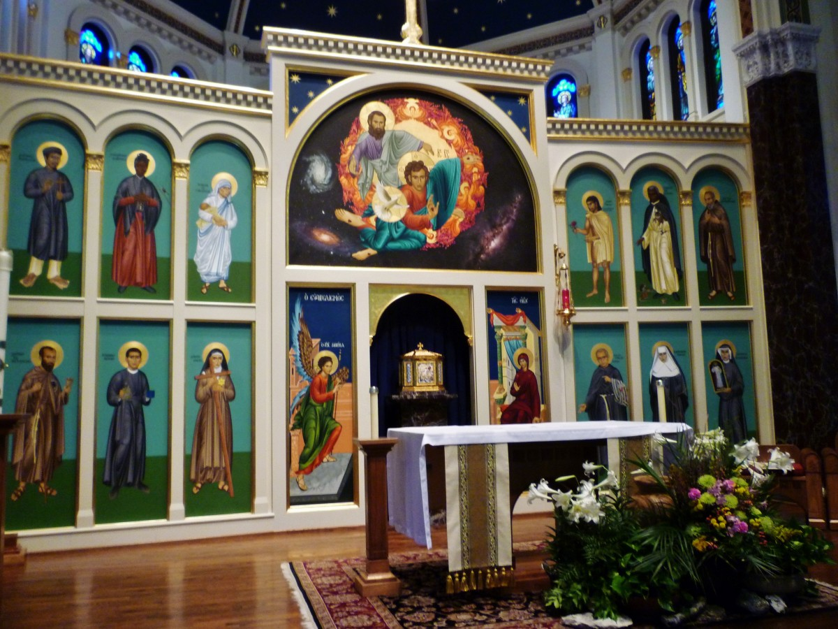 Icons up by the altar at the front of the church