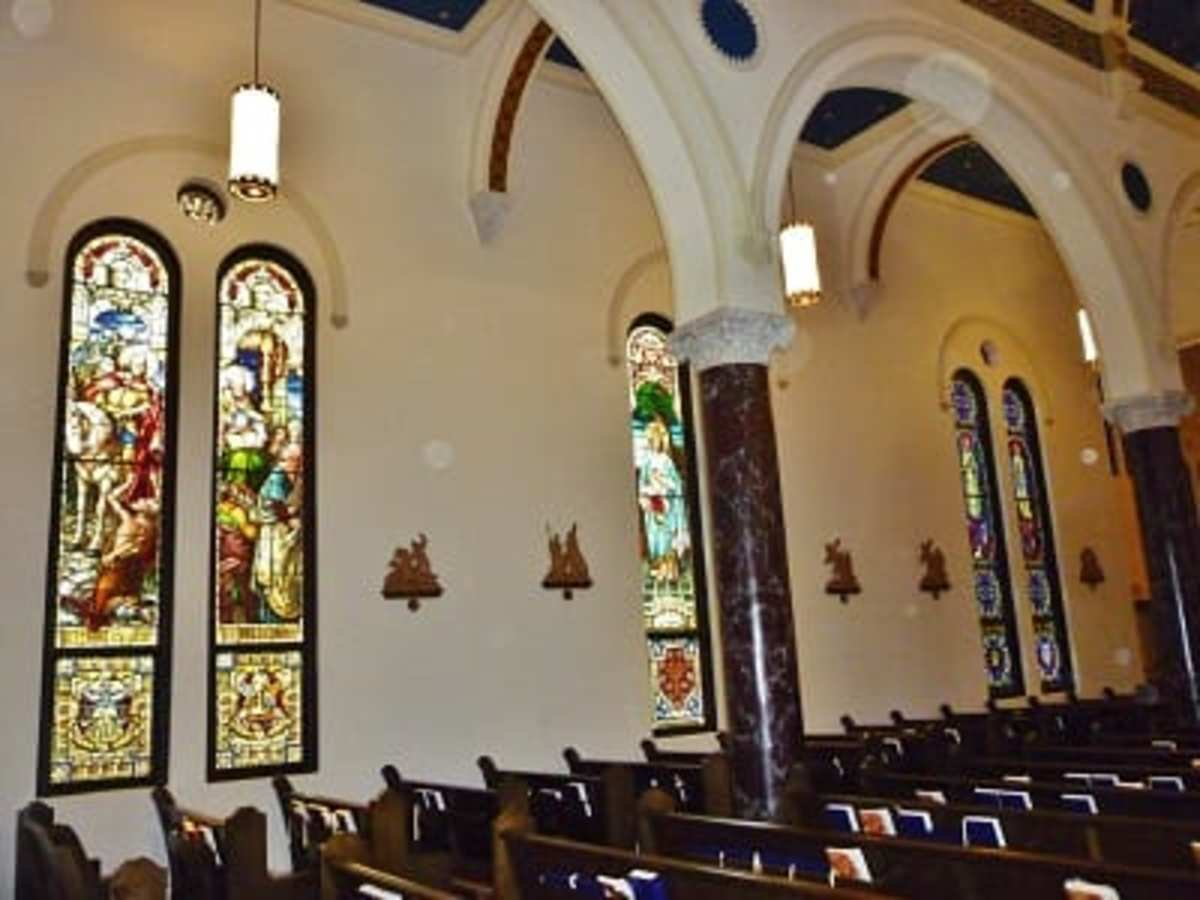 Side view inside of All Saints Catholic Church