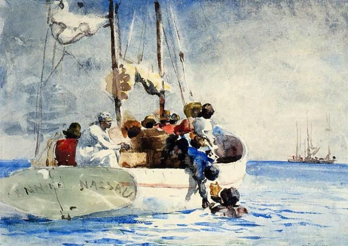 In the late 1800s, noted American watercolorist, Winslow Homer,  journied to the Bahamas and recorded life in the islands This painting is titled, The Sponge Fisherman.