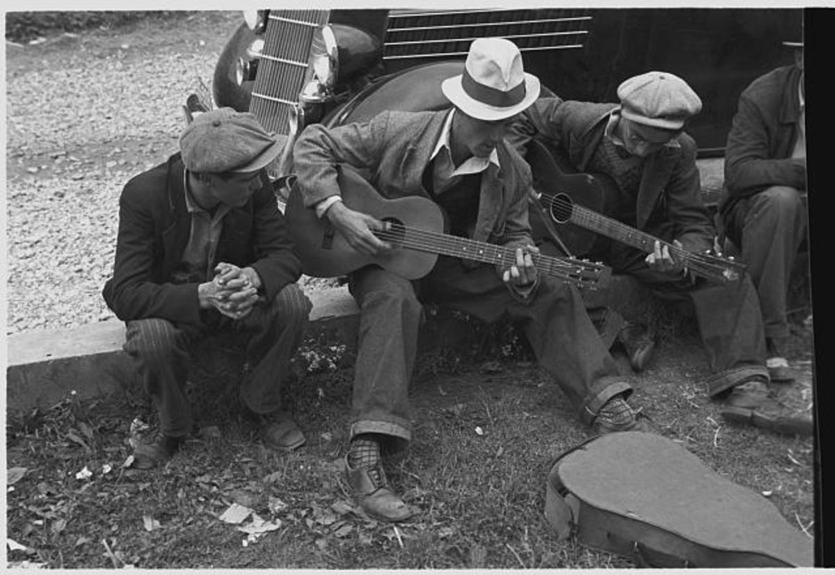 In both good times and bad, Appalachian mountain music has endured. Photo taken in Maynardville, TN in 1935