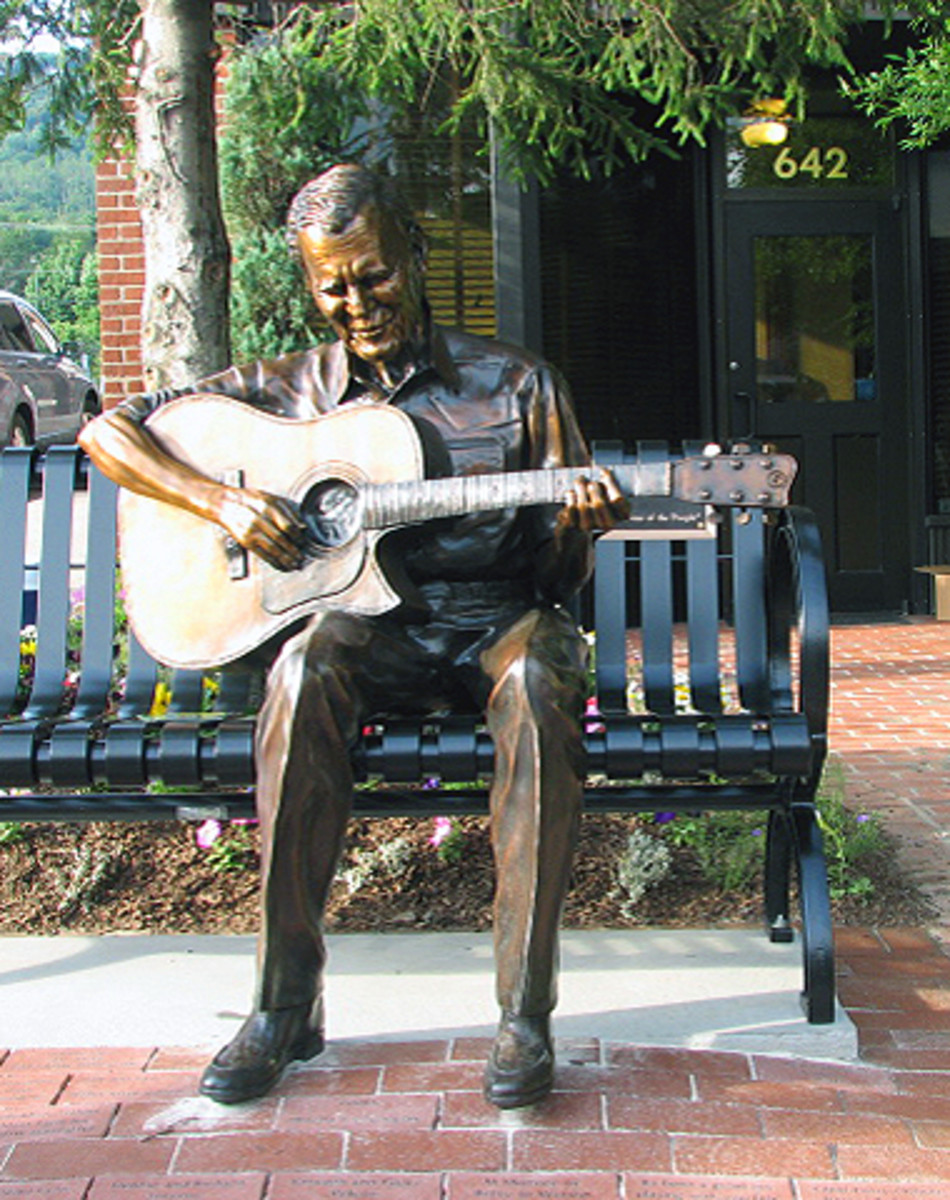 In Boone, NC on the corner of King and Depot sits the Doc Watson sculpture, celebrating the very spot where Doc used to busk.