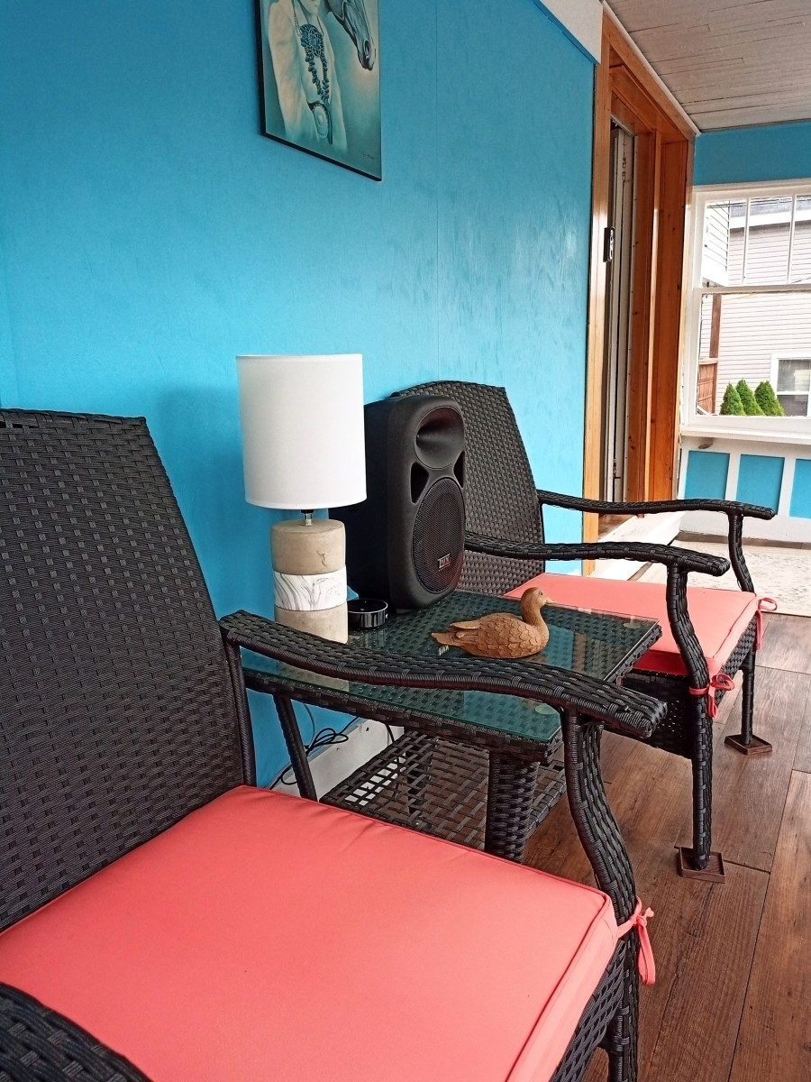 Speaker set up in front porch and, in this case, connected to an Alexa Echo Dot