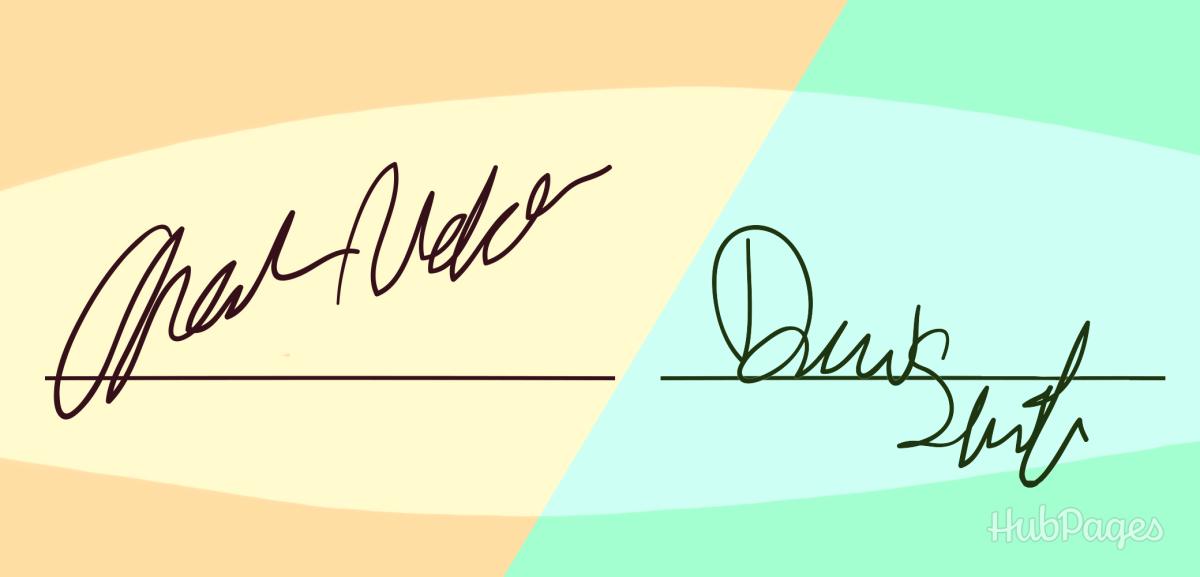 Upward and downward slanting signatures