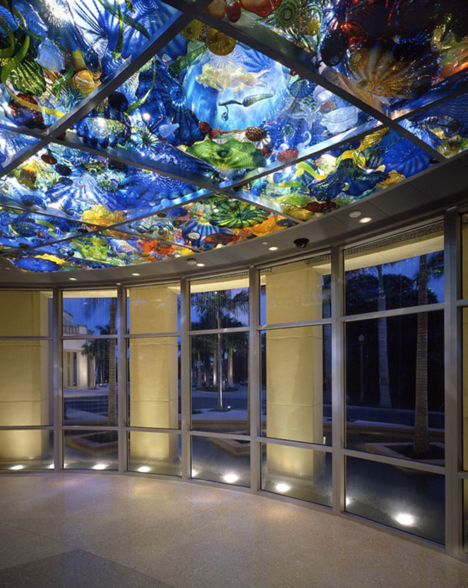 The gorgeous glass ceiling by Chihuly, located at the Norton Museum of Art, will take your breath away