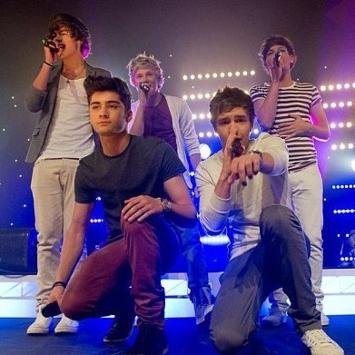 One Direction performing in Sydney. Back l-r Harry Styles, Niall Horan and Louis Tomlinson. Front l-r Zayn Malik and Liam Payne