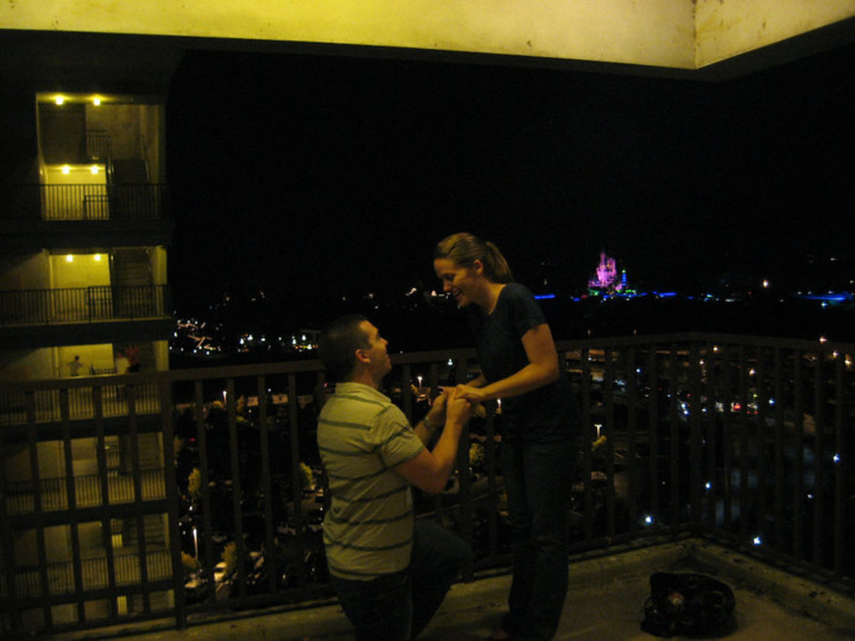 The Stokers. Proposal at a Disney Hotel, before fireworks display. Cinderella's Castle in the background.