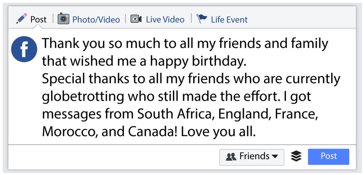 Id Also Like To Thank All Of You Who Remembered My Birthday And Sent Me A Message Made Day Love With Much Appreciation