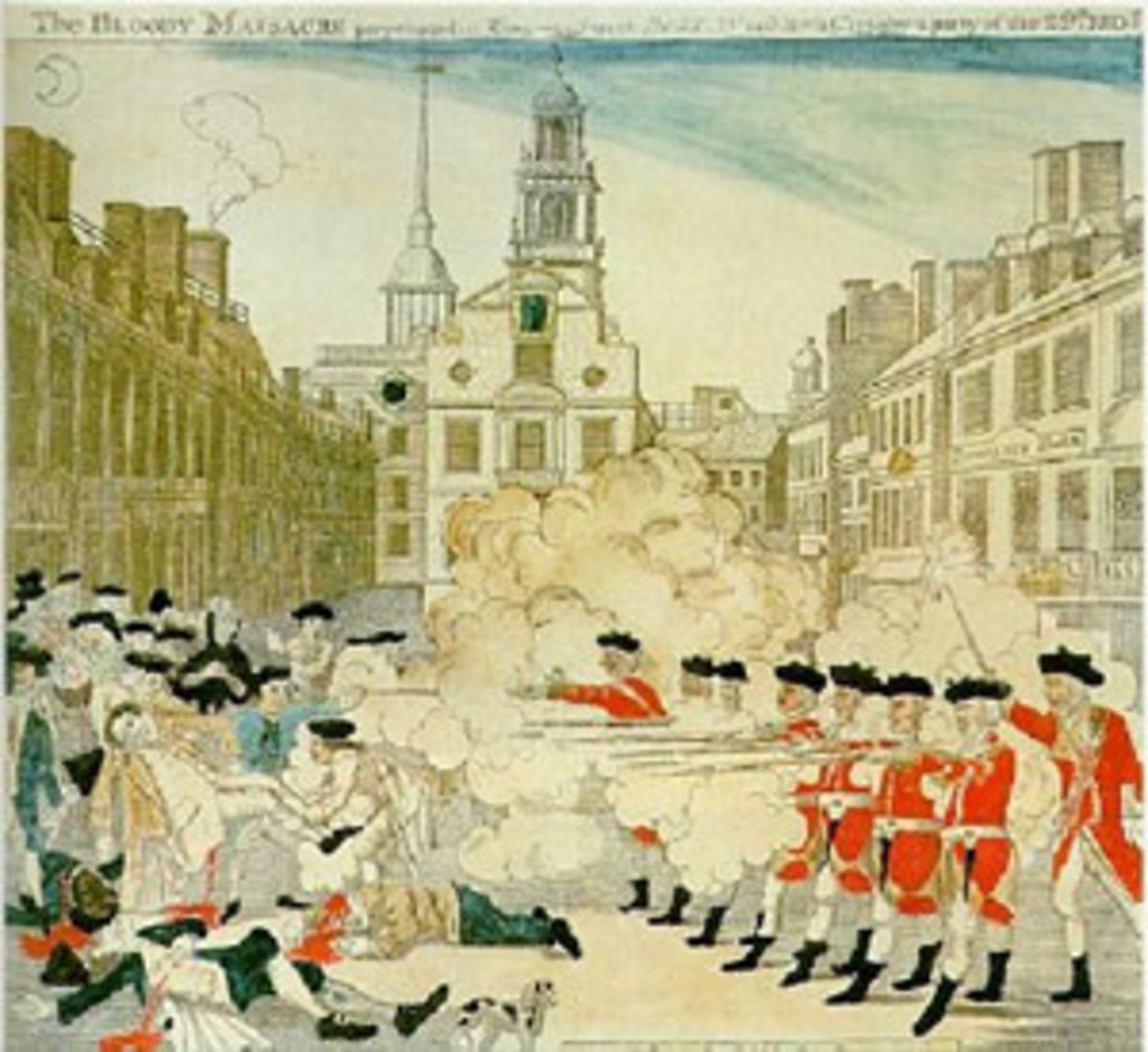I'm sure the British lined Bostonians up and started shooting just like this during the Boston Massacre. Evil Brits!!