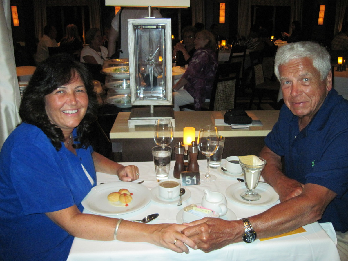 Dinner on our romantic 2 week honeymoon cruise on the Norwegian Epic!