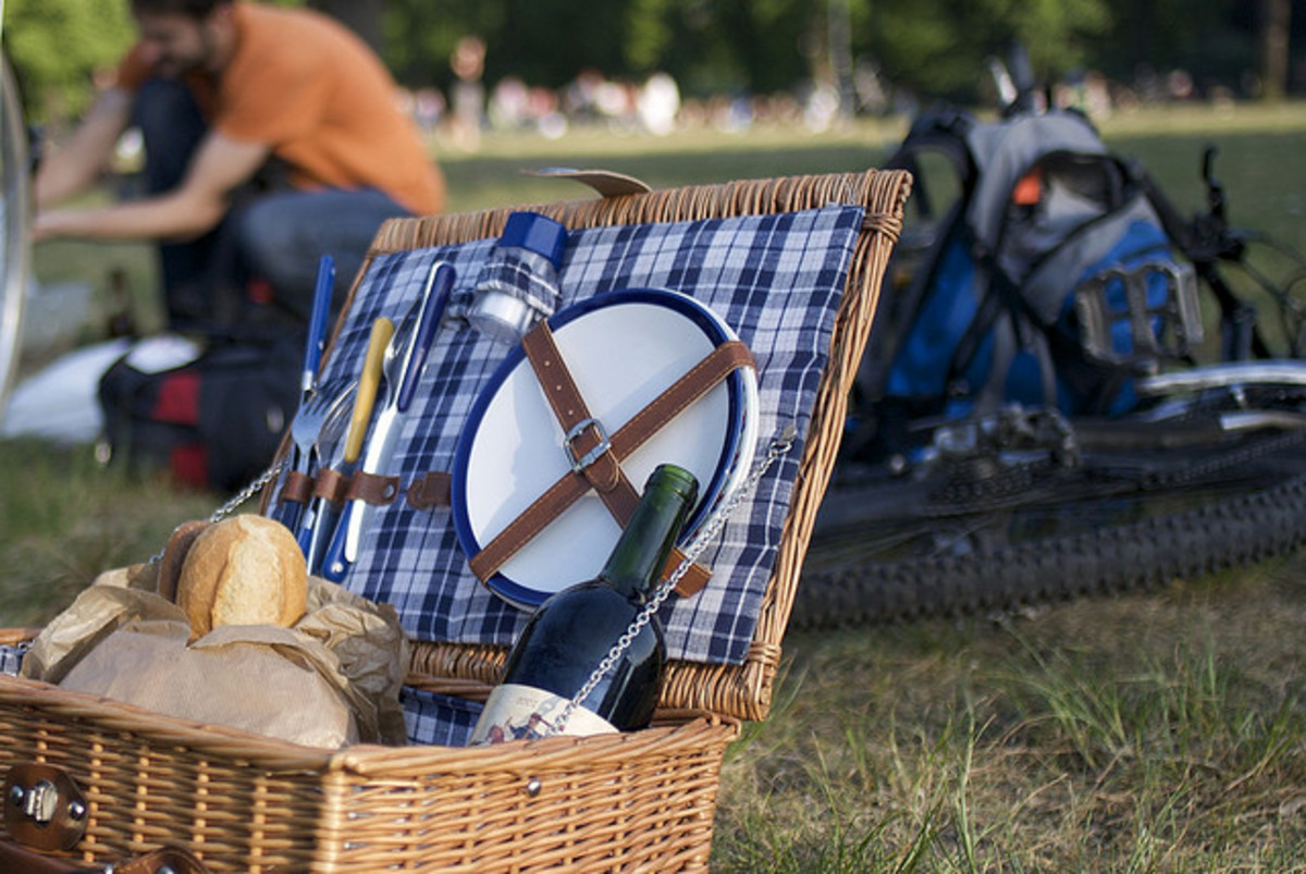 Blue plaid picnic basket.