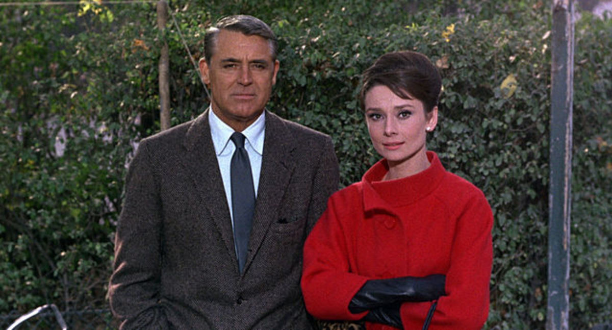 "Cary Grant paired with the much younger Audrey Hepburn in the film ""Charade."""