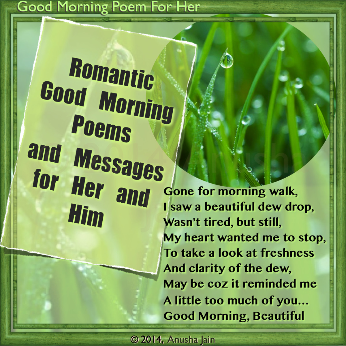 Good Morning Poems For Him Good morning beautiful dew