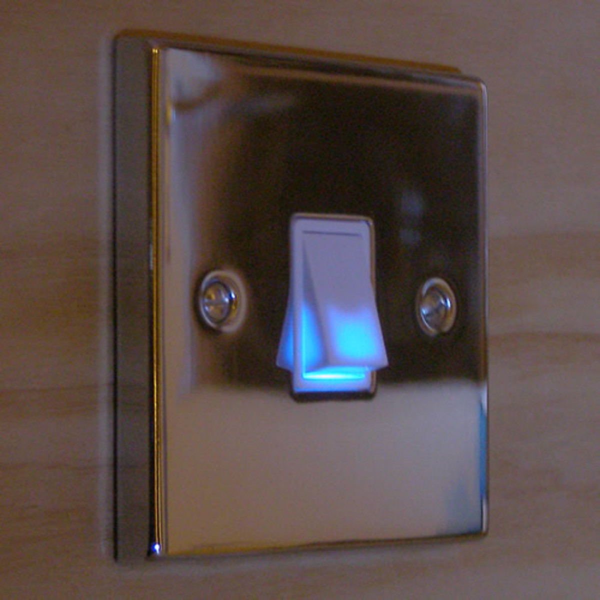 An illuminated light switch from the UK