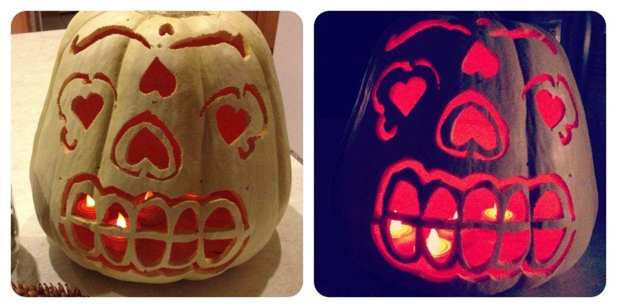 Mexican Sugar Skull Design on White Pumpkin